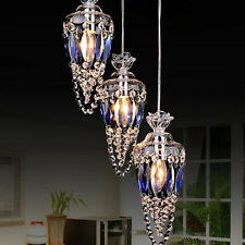 Blue Crystal 3PCS Lamp Pendant Light Chandelier Fixtures Living Room Lighting