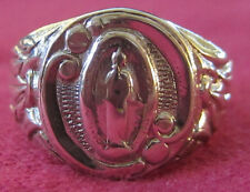 Antique Catholic Religious Medal - STERLING - Miraculous Ring Size 10 1/2 - NICE
