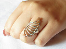 Big Contemporary Ostrich Wing Feather Fan Shell Ring Sterling 925 Size 6.5