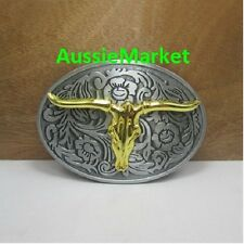1 x mens belt buckle quality metal alloy jeans gold longhorn farmer farm cowboy
