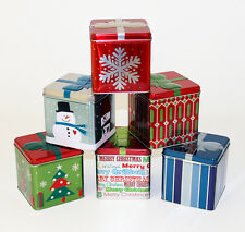 Lot of 6 Holiday Christmas decorative candy cookie nuts cube square gift Tins