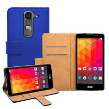 Wallet BLUE Leather Flip Case Cover Pouch For LG Magna H502F, H500F (+2 FILMS)