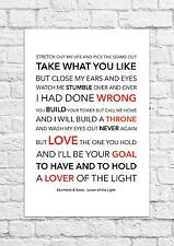 Mumford & Sons - Lover of the Light - Song Lyric Art Poster - A4 Size