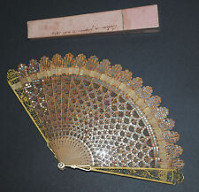 FINE ANTIQUE FRENCH HAND CARVED WOOD PAILLETTES GILT METAL FILIGREE BRISE FAN
