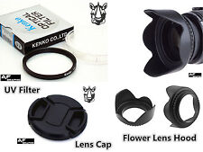 F109u Lens Hood + Cap + UV Filter 52mm for Canon EOS M M2 M3 with 18-55mm Lenses