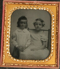 AMBROTYPE, AMBER GLASS.YOUNG SIBLINGS, AFFECTIONATE POSE. 1/6TH PLATE, FULL CASE