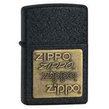 Zippo 362, Logo, Brass Emblem, Black Crackle Lighter, Full Size