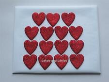 15 X EDIBLE RED GLITTER HEARTS. CAKE DECORATIONS - MEDIUM 3cm