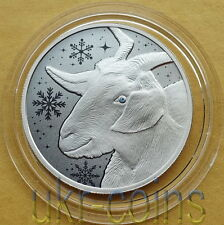 2015 Laos Lunar Year of the Goat 1/2Oz Silver Proof Coin Gemstone Chinese Zodiac