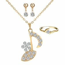 Hip Hop Jewelry Set Music Note Flower 18K Gold gp Crystal Necklace Earrings Ring
