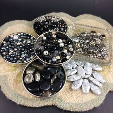 Black Grey Silver Mixed Bead Lot 700+ Glass Metal Plastic Faux Pearl Hematite