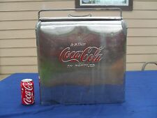 Vintage ~ Embossed Coca Cola Stainless Steel Cooler Chest /W Bottle Opener