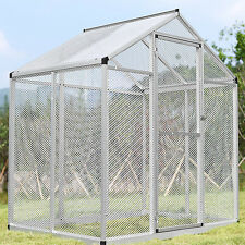LARGE Aluminum Bird Cage Play Top Parrot Finch Cockatiel Macare Walk In Aviary