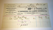 Antique Victorian American C. H. Codman & Co. Photographic, Framing, Mat Receipt