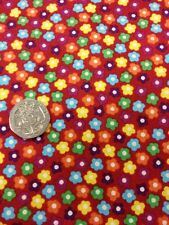 100 % Cotton Quilt Dress Fabric By Half Metre Tiny Floral On Red By Stof