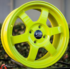 15X6.5 ROTA GRID WHEELS 4X100 YELLOW ET40 RIMS FITS HONDA CIVIC 1980-2005