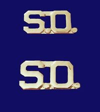 "S.O. Collar Pin Set Cut Out Letters 3/8"" Security Officer Nickel Plated 2405 New"