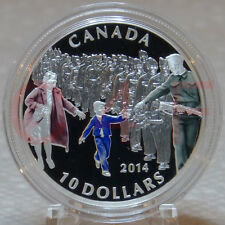 2014 - Canada WWII - Wait for Me, Daddy - $10 1/2 oz Pure Silver Coloured Coin