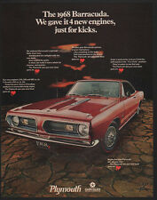 1968 PLYMOUTH BARRACUDA Red Muscle Car -4 New Engines, Just for Kicks VINTAGE AD