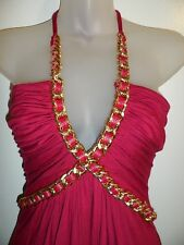 Sky Brand M Dress Maroon Red Wine Gold Chain Leather Halter Cocktail Club Party