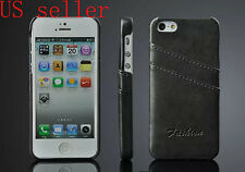 US Seller Luxury PU Leather Skin With Card Holder Back Cover Case For iPhone5 5S