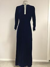Vintage 70s Blue Velvet Maxi Dress Long Sleeve Fitted Lace Union Label Size 10