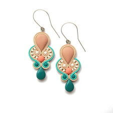 Wedding Earrings Teal Blue Salmon Pink and Beige Earrings Jewelry Brides Gift