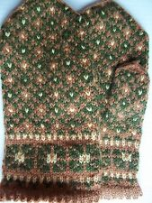 Latvian hand knitted 100% wool mittens, light brown/green/soft yellow (size L)