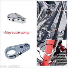 "Chrome Alloy Brake Clutch Cable Wire Clamp Clip For 1"" 25mm Bar Harley Davidson"