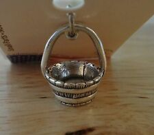 Sterling Silver 3D 15x14mm Detailed Horse Feed Water Bucket Tack Charm!