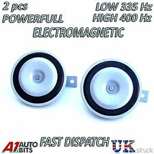 12 VOLT UNIVERSAL FIT CAR HORN DISC TYPE HIGH & LOW TONE 12V -BOAT-VAN
