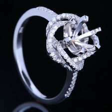 6mm Round Solid14k White Gold Engagement&Wedding Diamond Semi Mount Ring Setting