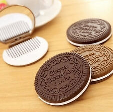 FD1652 Mini Pocket Chocolate Cookie Biscuits Compact Mirror With Comb ~Cute~