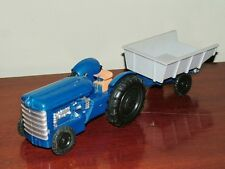 MM  (Hong Kong) 59  Friction Drive Plastic Farm Tractor & Tipping Trailer - RARE