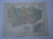 Carte 19° 1852  couleur atlas Malte brun Département de la Meurthe Plan de Nancy