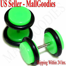 2039 Neon Lime Green Fake Cheater Illusion Faux Ear Plugs 16G Bar 0G = 8mm 2pcs