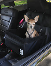 Small Black Dog Car Booster Seat (black lining) - Dogs Out Doing *
