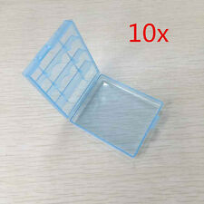 10 x Hard Plastic Blue White Case Cover Holder AA / AAA Battery Storage Box TOP