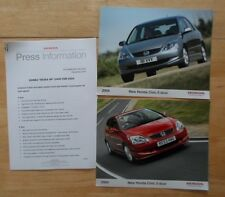 HONDA CIVIC orig 2003-04 UK Mkt Press Release + 2 Large Photos - Brochure