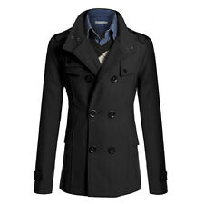 Men's Gent Slim Fit Double Breasted Overcoat Trench Coats Jackets Formal Outwear
