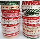 LARGE SELECTION STRIPES SNOWFLAKES HAPPY MERRY CHRISTMAS RIBBONS - 2 & 3 METRES