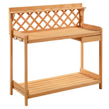 Potting Bench Outdoor Garden Work Bench Station Planting Solid Wood Constru