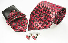 Gift Box Mens  Red And Black Squares Silk Tie Hanky Cuflinks Matching Set A005