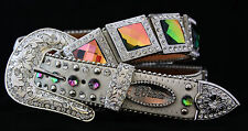 White Belt Western COWGIRL Show Rodeo Belt rainbow Rhinestone Crystal Belt