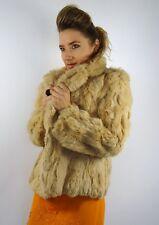 Vintage luxe lapin fourrure veste manteau crème doré S / M
