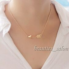 Women Golden Chic Bow Arrow Shaped Necklace Pendent Chain Link Jewelry Gift
