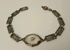 Vintage Art Deco Sterling Silver Camphor Glass Bracelet