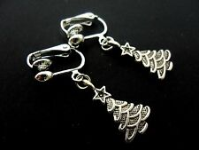 A PAIR OF  CUTE LITTLE TIBETAN SILVER DANGLY CHRISTMAS TREE CLIP ON EARRINGS.