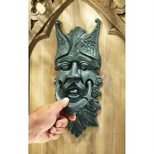 Verdigris Patina Iron Man of Forest Greenman Door Knocker Towel Rack Curtain Tie