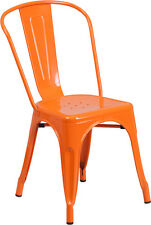 Industrial Style Armless Restaurant Chair in Orange Metal - Outdoor Chair